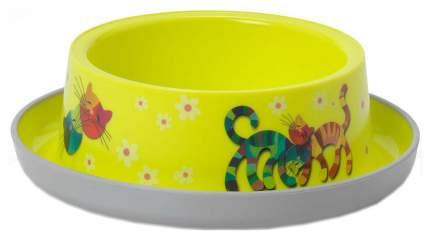 Одинарная миска для кошек MODERNA, пластик, желтый, 0.35 л