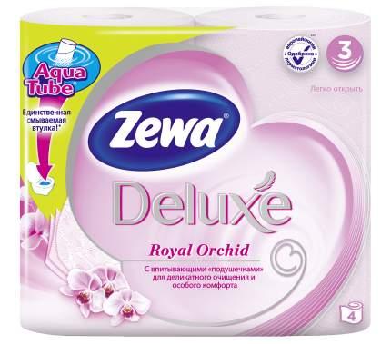 Туалетная бумага Zewa Deluxe Орхидея, 3 слоя, 4 рулона