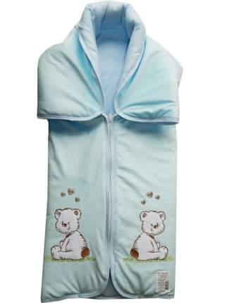 Конверт-одеяло Папитто на молнии с вышивкой 82*92 11-150 Голубой