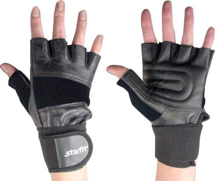 Перчатки для тяжелой атлетики и фитнеса StarFit SU-125, черные, 7