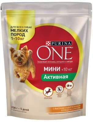Сухой корм для собак Purina One Мини Активная, курица, рис, 0.2кг