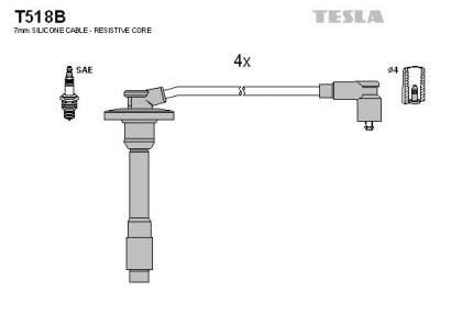 Комплект проводов зажигания TESLA T518B