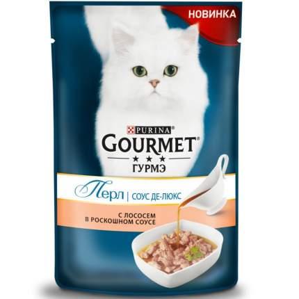 Влажный корм для кошек Gourmet Perle Соус Де-люкс, лосось, 24шт, 85г