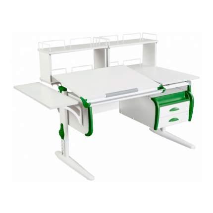 Парта Дэми СУТ 25-05Д2 WHITE DOUBLE со столешницей, приставками белый, зеленый