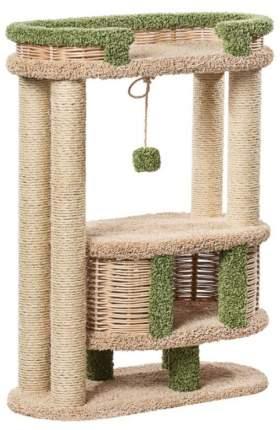 Комплекс для кошек ПУШОК Фидика Пушок ковролин бежевый с зеленым