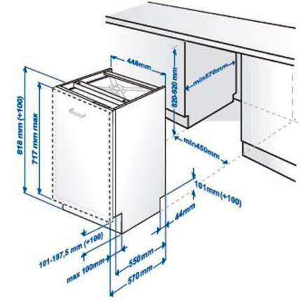 Встраиваемая посудомоечная машина 45см Beko DIS 16010