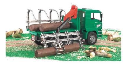Лесовоз Bruder MAN с портативным краном и брёвнами