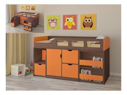 Кровать-чердак РВ мебель Астра 8 дуб шамони/оранжевая