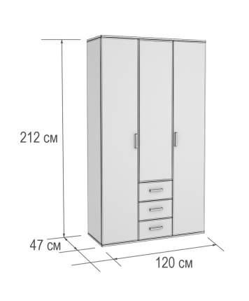 Трехстворчатый распашной шкаф BTS Шкаф 3-х створчатый с зеркалом Белла Ясень шимо / Дуб 1