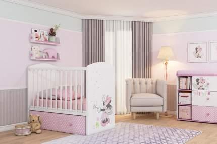 Кровать-трансформер детская Polini Kids Disney Baby 750 «Минни Маус-Фея» Белый/Розовый