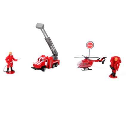 Набор Технопарк пожарная техника, металлические машина урал+вертолет+аксесс.