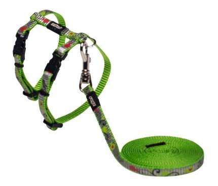 Комплект поводок и шлейка для кошек Rogz ReflectoCat XS-8мм 1,8 м (Зеленый CLJ240L)