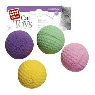 Мяч для кошек GiGwi, Вспененный полимер, диаметр 4 см, 4 шт