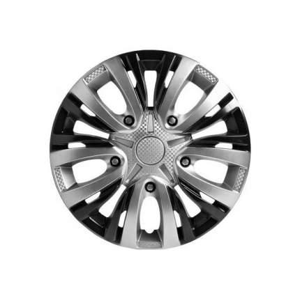 Колпаки колесные AIRLINE 15 дюймов Лион серебристо-черные, карбон