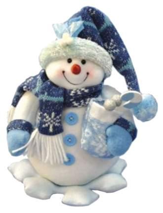 Игрушка новогодняя Snowmen Снеговик на снежинке с мешком ягод Е60123 26 см