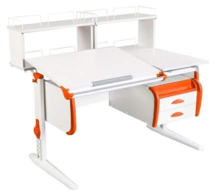Парта Дэми White Стандарт СУТ-24-01Д1 С задней двухъярусной приставкой Белый/Оранжевый