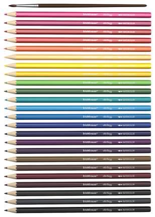 Карандаши акварельные 24 цвета Erich Krause, с кисточкой, шестигранные 3 мм Erich Krause