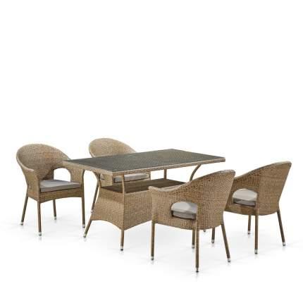 Комплект плетеной мебели Afina T198B/Y97B-W56 Light Brown (4+1)