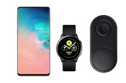 Смартфон Samsung Galaxy S10 128Gb Pearl+часы Watch Active+беспроводная зарядка EP-P5200