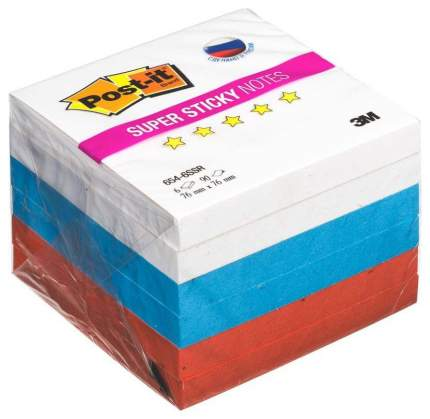 Блоки самоклеящиеся Post-it Триколор 76х76 мм, Белый/Синий/Красный