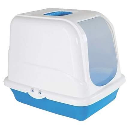 Туалет для кошек MP-Bergamo Oliver, прямоугольный, голубой, белый, 46х35х40 см