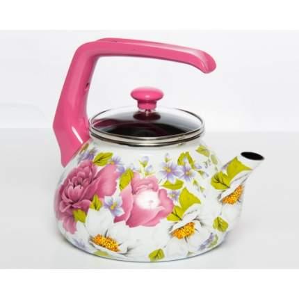 Чайник для плиты Interos Пион 2,2л эмалированный со стекл. кр.