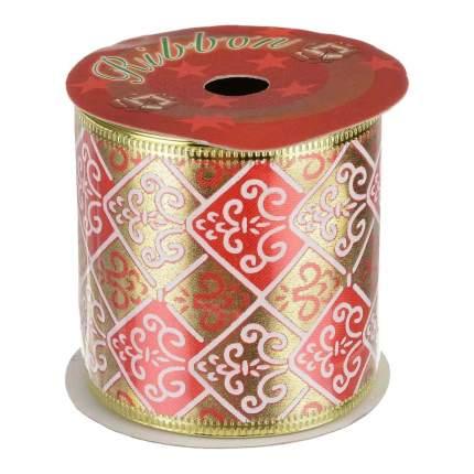 Лента декоративная Феникс Present Золотая с красными ромбами 6,3x270 см