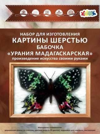 Набор для изготовления картины шерстью Цветной  Бабочка Урания Мадагаскарская SH032