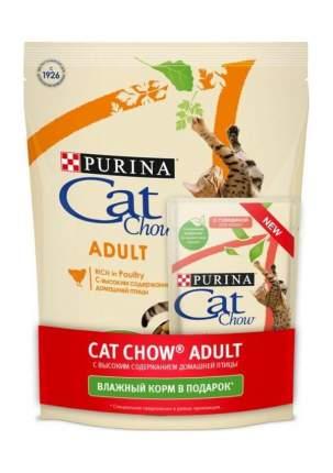Сухой корм Cat Chow Adult для взрослых кошек (400 г, Птица + Пауч)