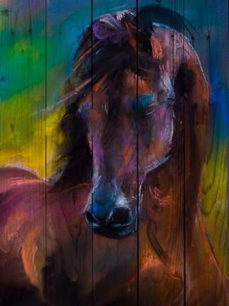 Картина на дереве Лошадь Акварель 30 х 40 см