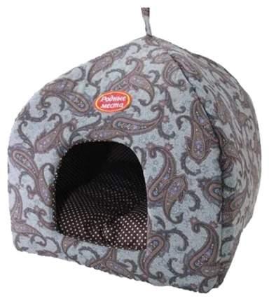 Домик для собак Родные Места Лежак Избушка Огурцы 45х45х53 см серый 3410560