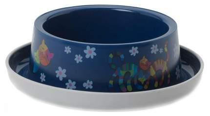 Одинарная миска для кошек MODERNA, пластик, синий, 0.35 л