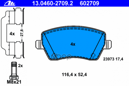 Комплект тормозных колодок ATE 13046027092