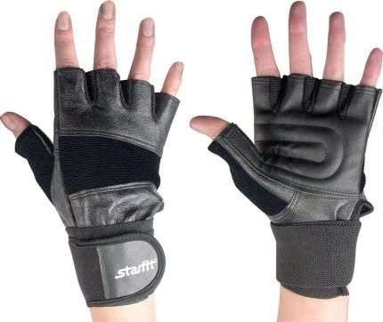 Перчатки для тяжелой атлетики и фитнеса StarFit SU-125, черные, M