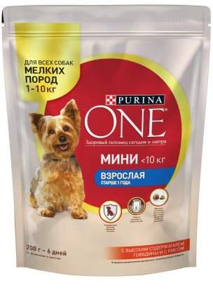 Сухой корм для собак Purina One Мини Взрослая старше 1 года, говядина, рис, 0.2кг