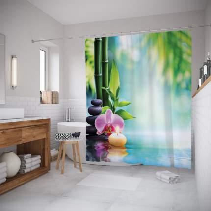 Штора для ванной JoyArty «Орхидея и свеча» 180x200