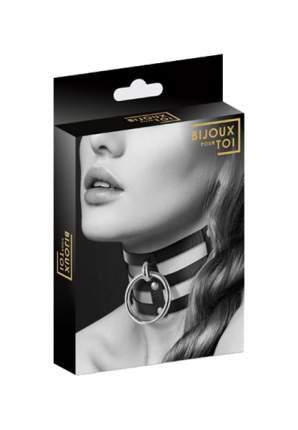 Чокер Bijoux Indiscrets Choker Fetish Noir тройной с большим кольцом черный