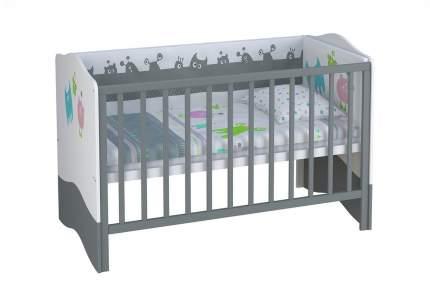 Кровать-трансформер Polini Basic 140х70 см Монстрики бело-серая