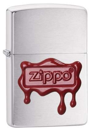 Бензиновая зажигалка Zippo Red Wax Seal Logo Emblem Brush Finish Chrome