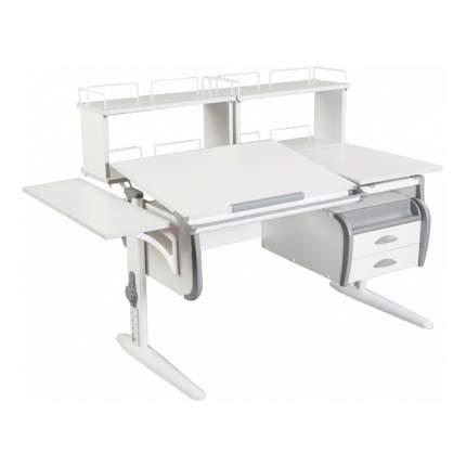 Парта Дэми СУТ 25-05Д2 WHITE DOUBLE со столешницей, приставками белый, серый