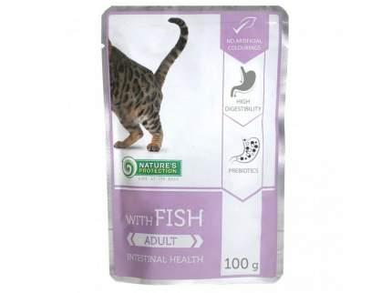 Влажный корм для кошек Nature's Protection Adult Intestinal Health, с рыбой, 22шт по 100г