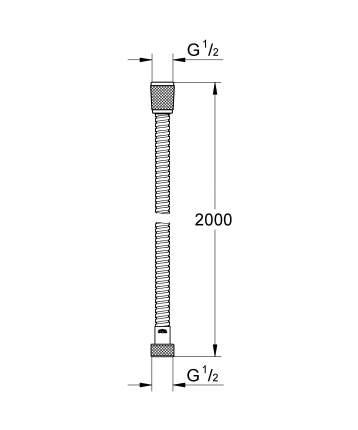 Душевой шланг GROHE Relexa усиленный (Longlife) 2000 мм, хром