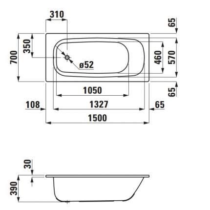 Акриловая ванна LAUFEN Pro 150х70 без гидромассажа