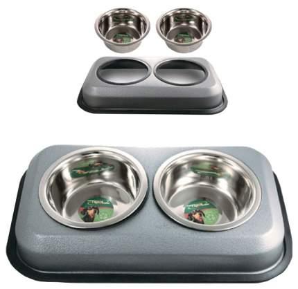 Двойная миска для кошек и собак Triol, металл, резина, серый, 2 шт по 0.2 л