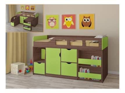 Кровать-чердак РВ мебель Астра 8 дуб шамони/салатовая