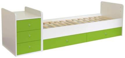 Кровать-трансформер детская Polini Kids Simple 1111 с комодом, Белый/Лайм