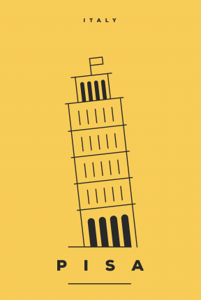 Постер Желтая Пиза 60х90 в тубусе