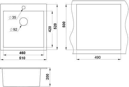 Мойка для кухни гранитная Granula GR-5102 bl, черный