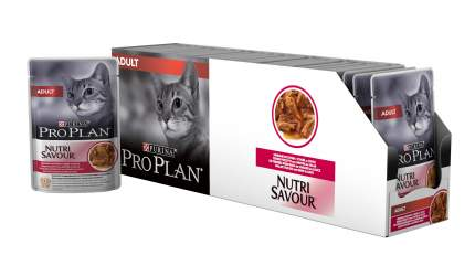 Влажный корм для кошек PRO PLAN Nutri Savour Adult, утка, 24шт, 85г