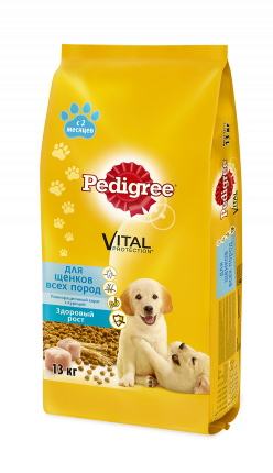 Сухой корм для щенков Pedigree Vital Protection все породы, курица, 13кг